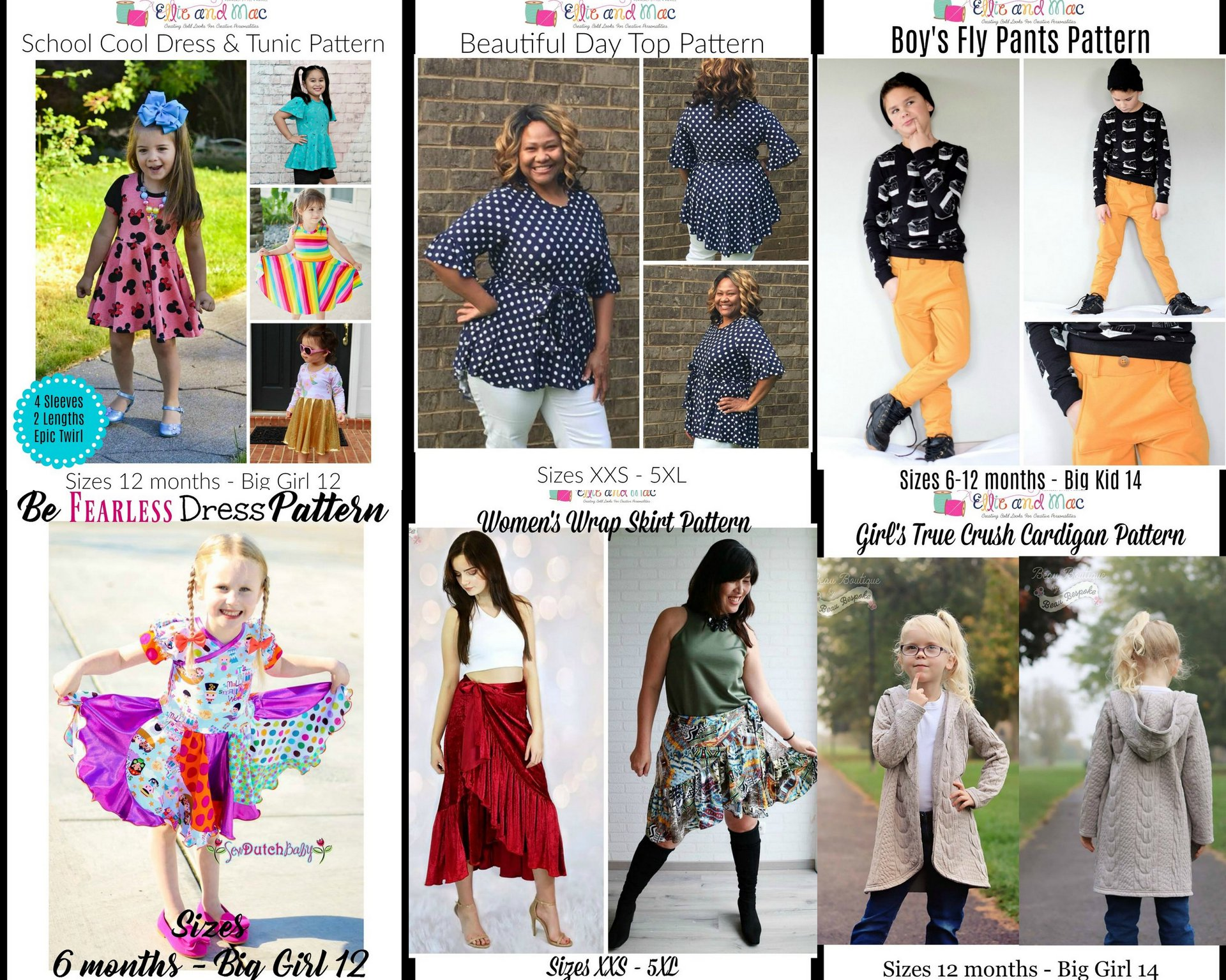 Wacky Wednesday $1 Sewing Patterns for Women, Girls and Boys September 26th