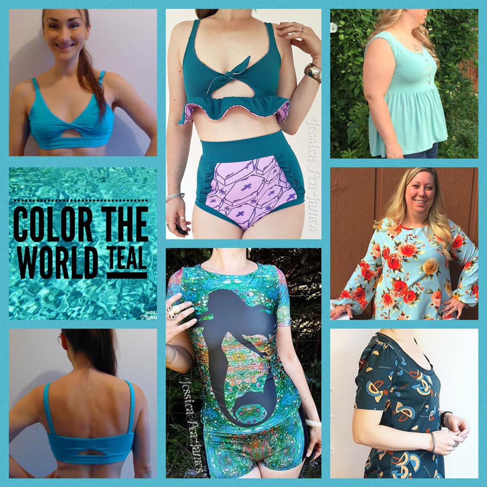 Color the World Teal Sewing Pattern Sale for Ovarian Cancer Research Fund
