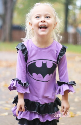 DIY Batgirl Dress in purple and black SVG Sewing Pattern