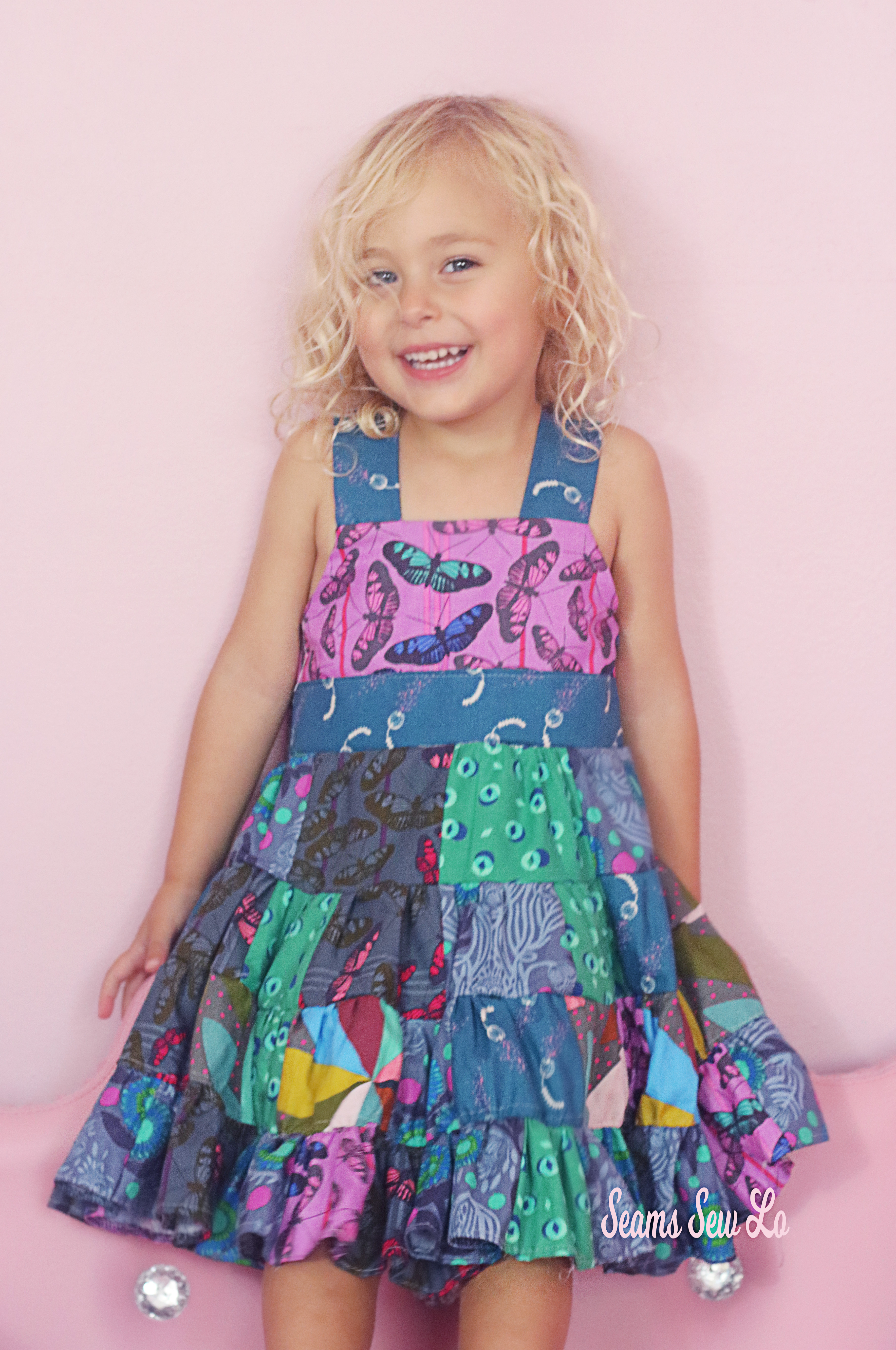 Ellie and Mac Girls Sierra Dress in Cotton Cuts Modern Maker Fabric Box Featuring Anna Maria Horner Fabric