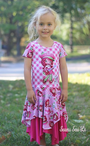 Strawberry Shortcake Inspired Custom Fabric. Petite Stitchery Girls Daisy Dress Sewing Pattern