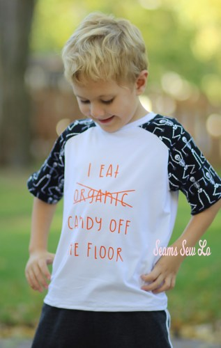 White Cotton Lycra Fabric from Simply by Ti for Boys Raglan Sewing Pattern