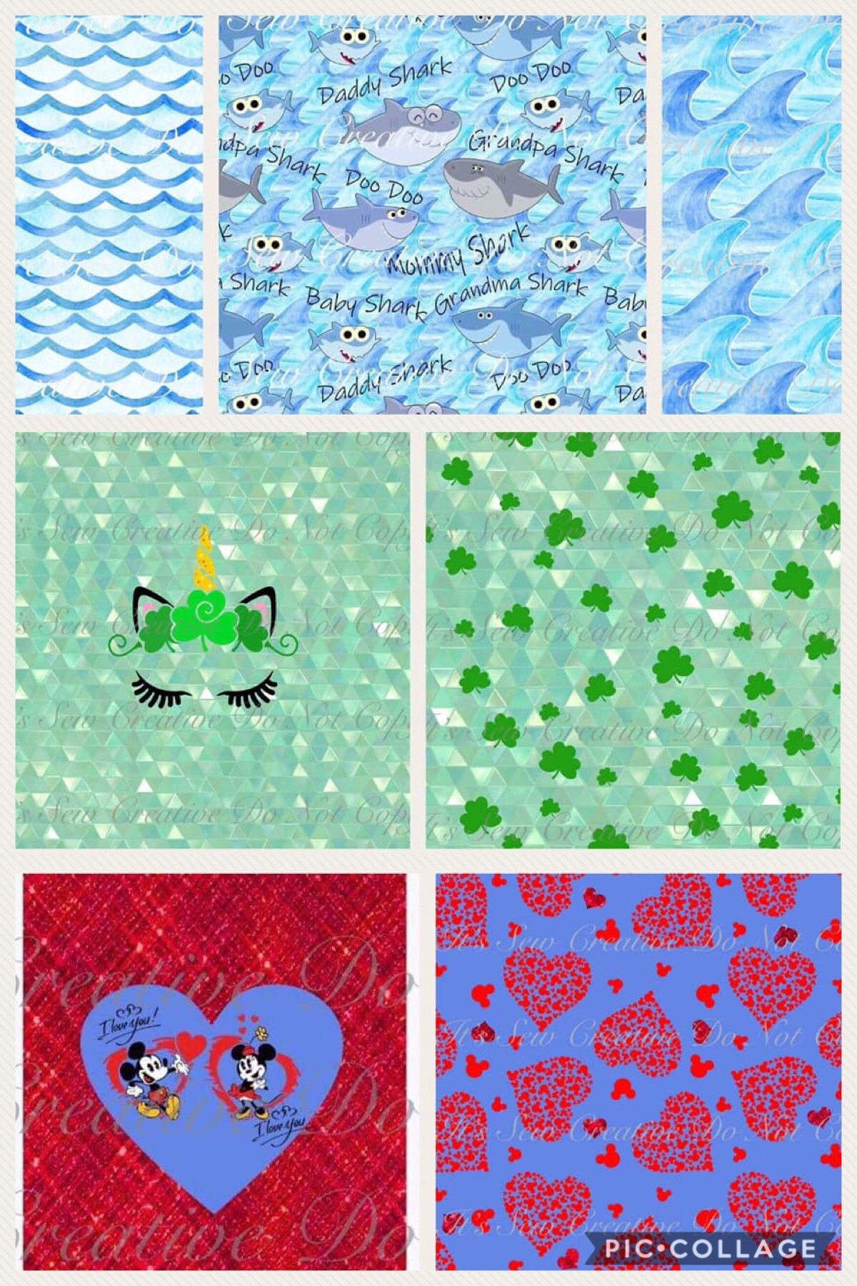 Custom Fabric Preorder Minnie and Mickey Inspired Valentines Day Fabric, Green Shamrock Unicorn, Baby, Mommy, Daddy Shark