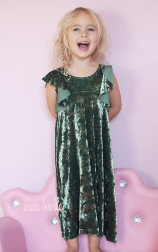 Green Stretch Velvet Be Dreamy Dress Sewing Pattern
