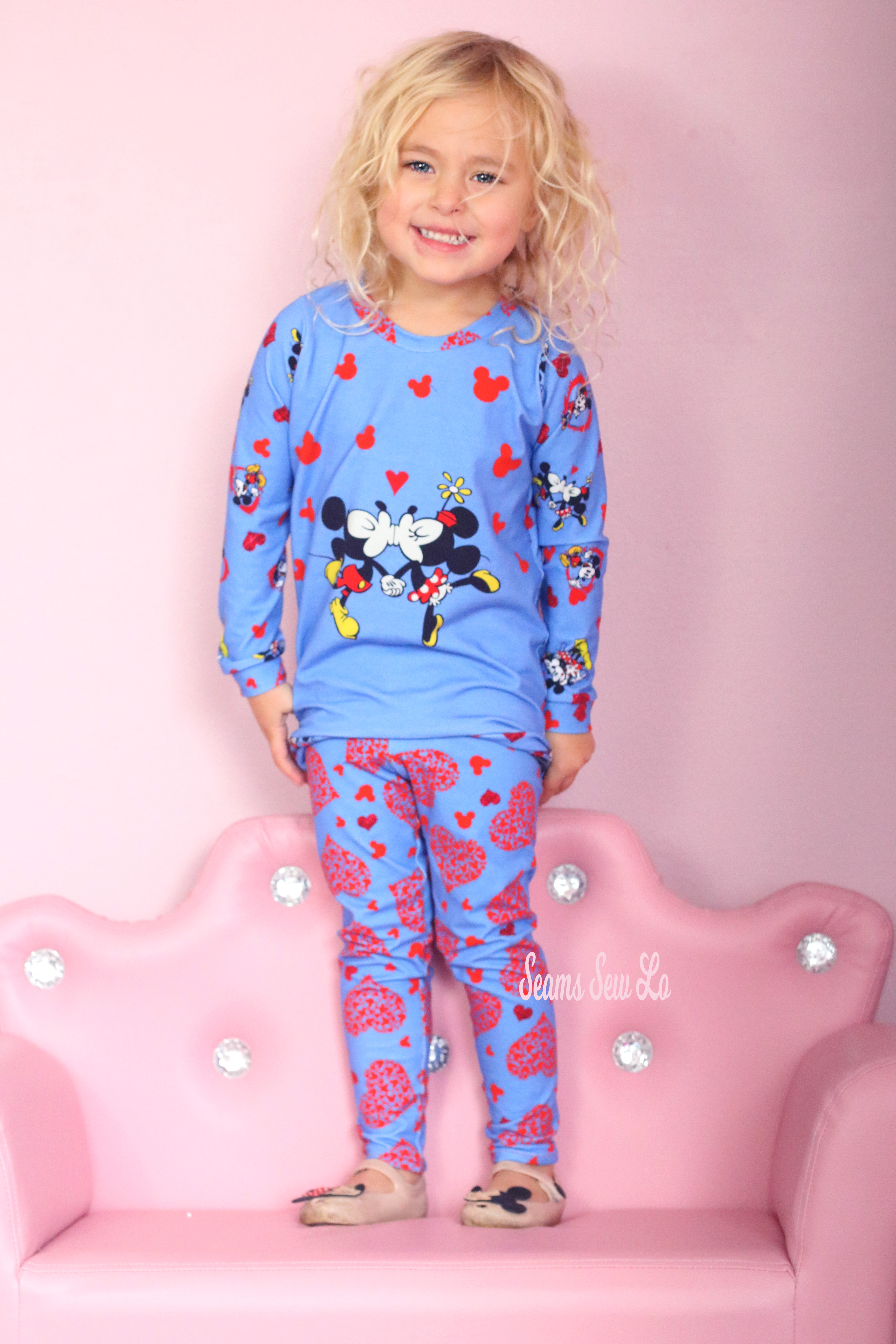 Little Girls Top and Leggings Sewing Pattern in Valentine's Day Mickey and Minnie Mouse Inspired Fabric