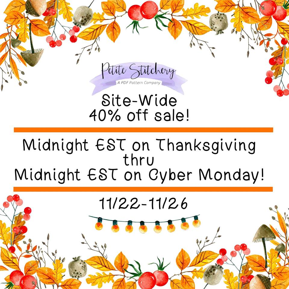 Petite Stitchery Black Friday Sewing Patterns Sale