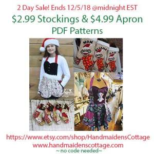 Stocking and Apron Sewing Patterns Sale!! Two Days Only at Handmaiden's Cottage
