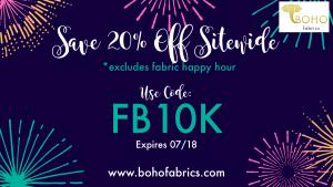 Boho Fabric 20% Site Wide Sale