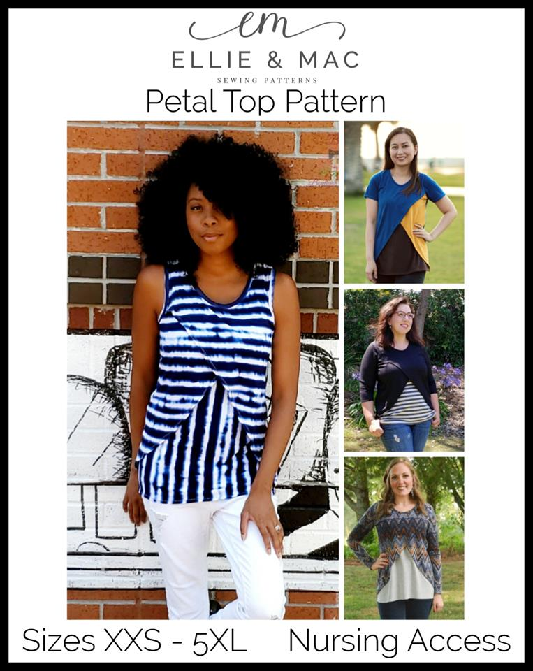 Ellie and Mac Nursing Friendly Petal Top Sewing Pattern Release and Sale
