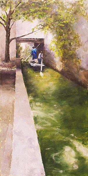 Suzhou Canal Figurative Painting Seamus Berkeley