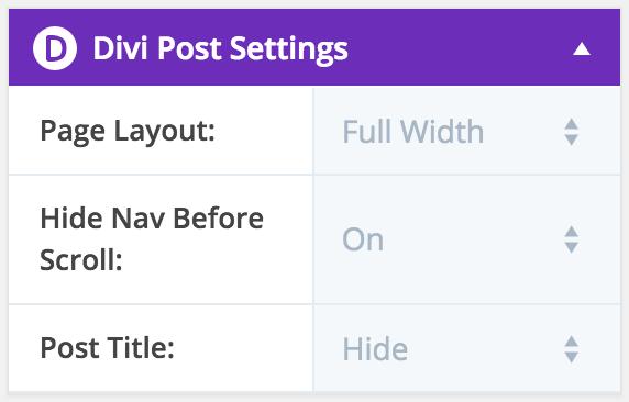 Divi Default Post Settings plugin