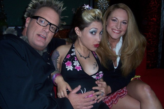 Jack E. Jett with Bridget the Midget and Jerri Manthey