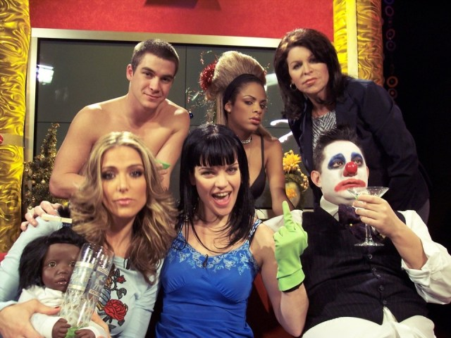 Guest co-host Debbie Matenopouls, Pauley Perrette, Angus Oblong, Jckie Enx, Shari Ansari and friend.