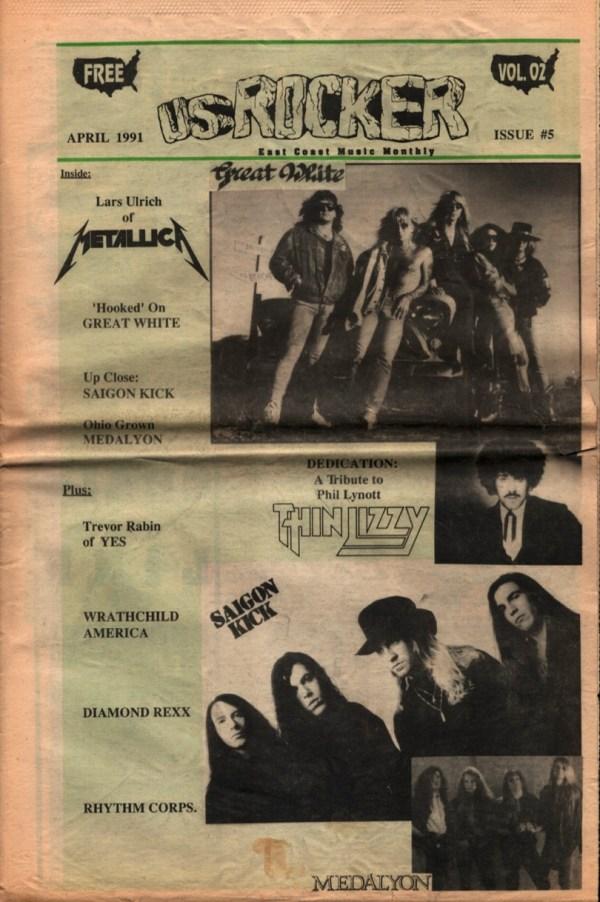 U.S. Rocker April 1991 Lars Ulrich Metallica Saigon Kick Thin Lizzy Trevor Rabin Cleveland