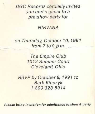 Nirvana at the Empire Concert Club, October 10, 1991 invitation pre-party