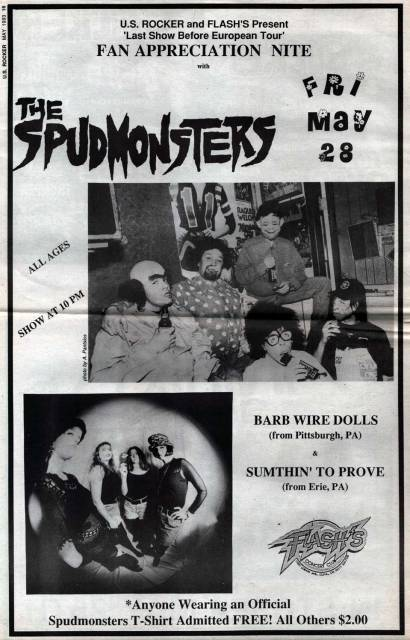 U.S. Rocker The Spudmonsters Flash's Barb Wire Dolls Sumthin' To Prove Erie Pa