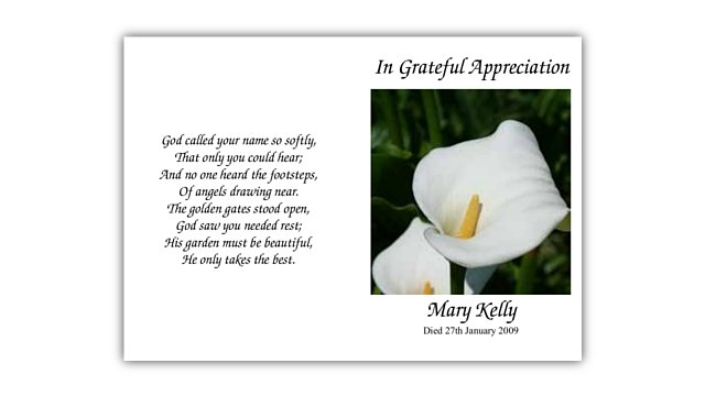 Acknowledgement Cards Sean Hassan Funeral Director