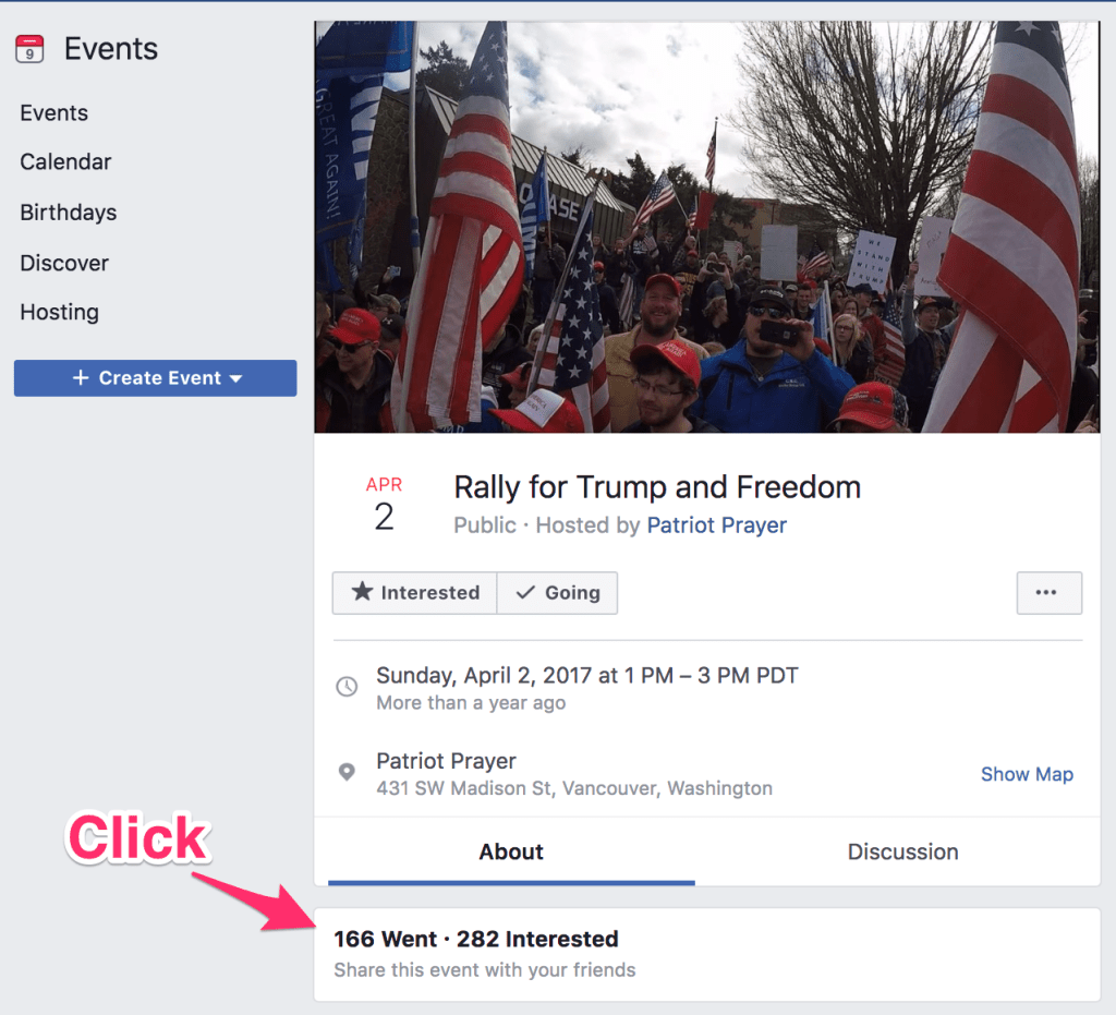 Patriot Prayer Facebook event page