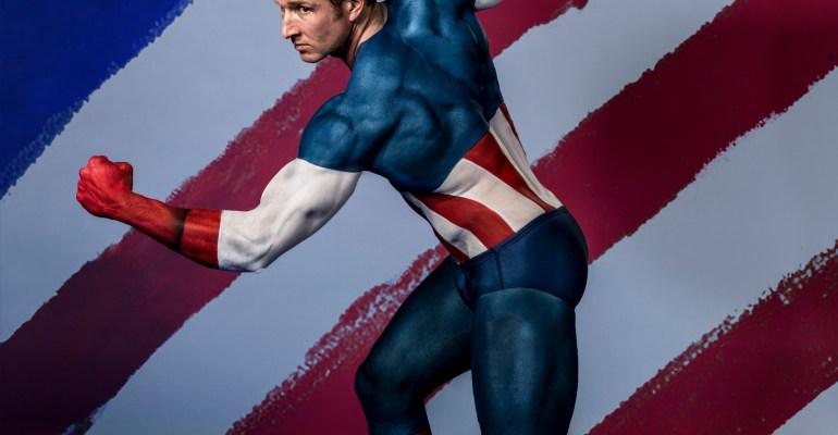Sean Lerwill bodypaint modelling as Captain America