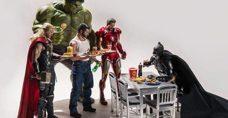 Superheroes having breakfast