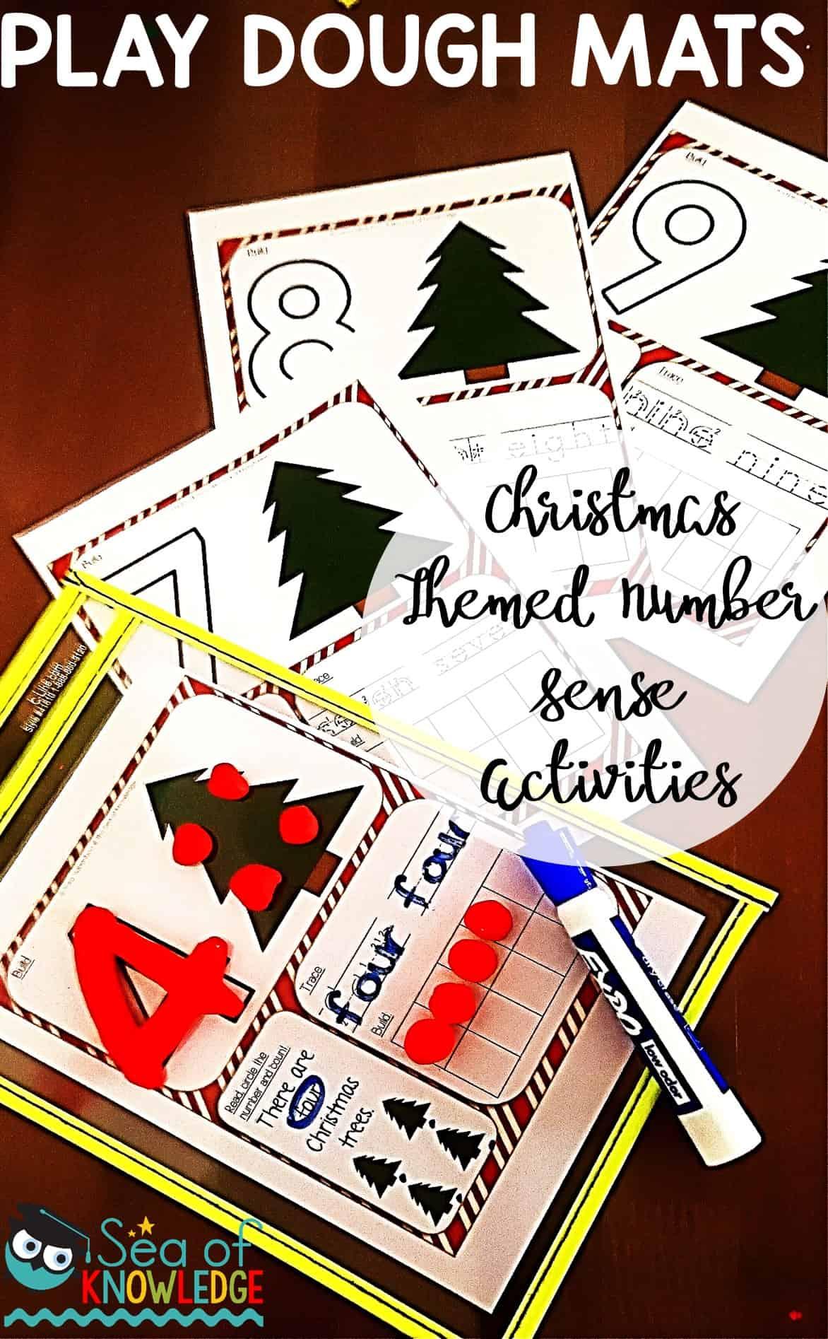 Christmas Math Number Sense Activities Dough Mats Free