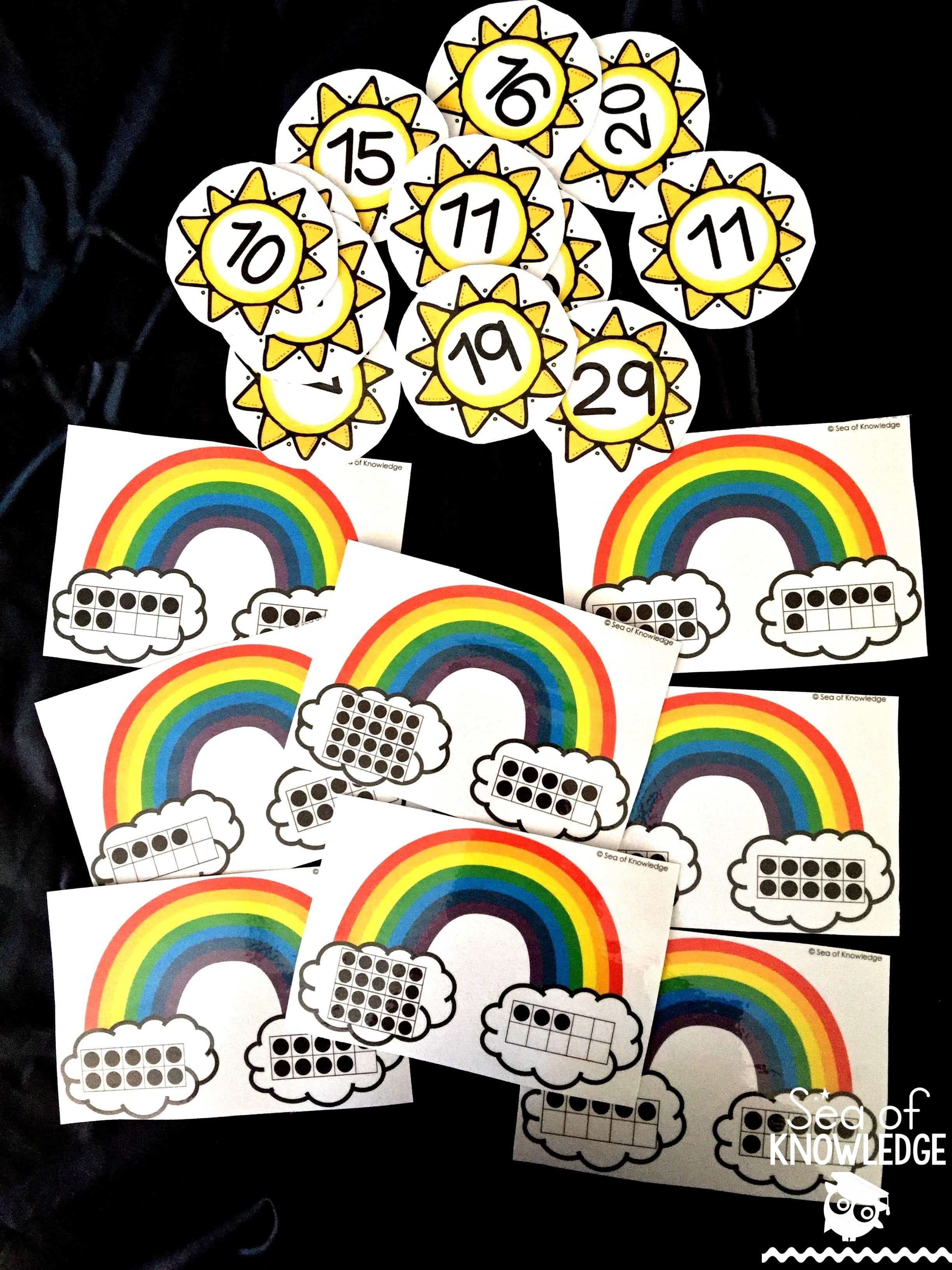 Ten Frame Rainbow Counting Puzzles Free For March