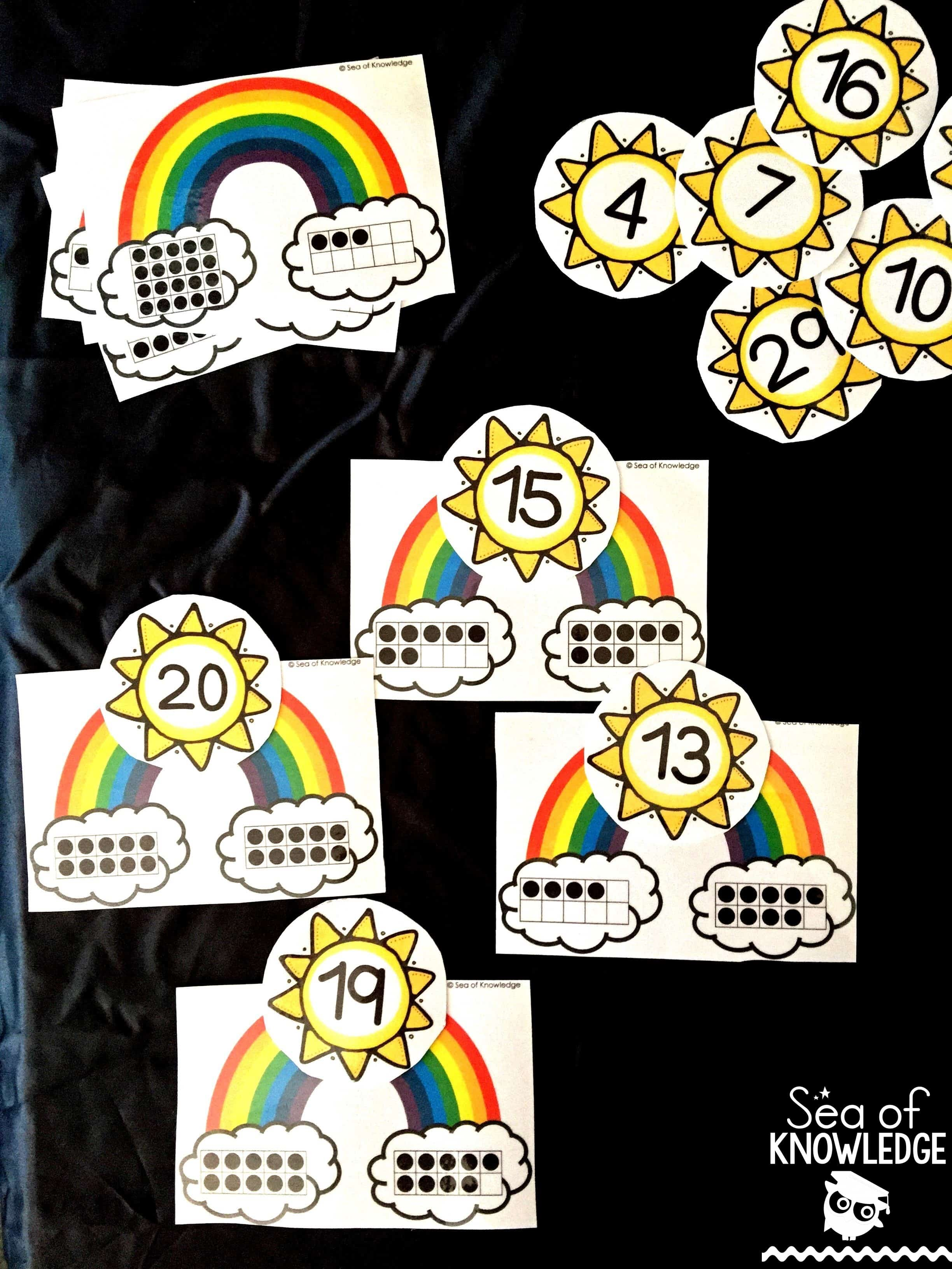 Ten Frame Rainbow Counting Puzzles Free For March Subscribers