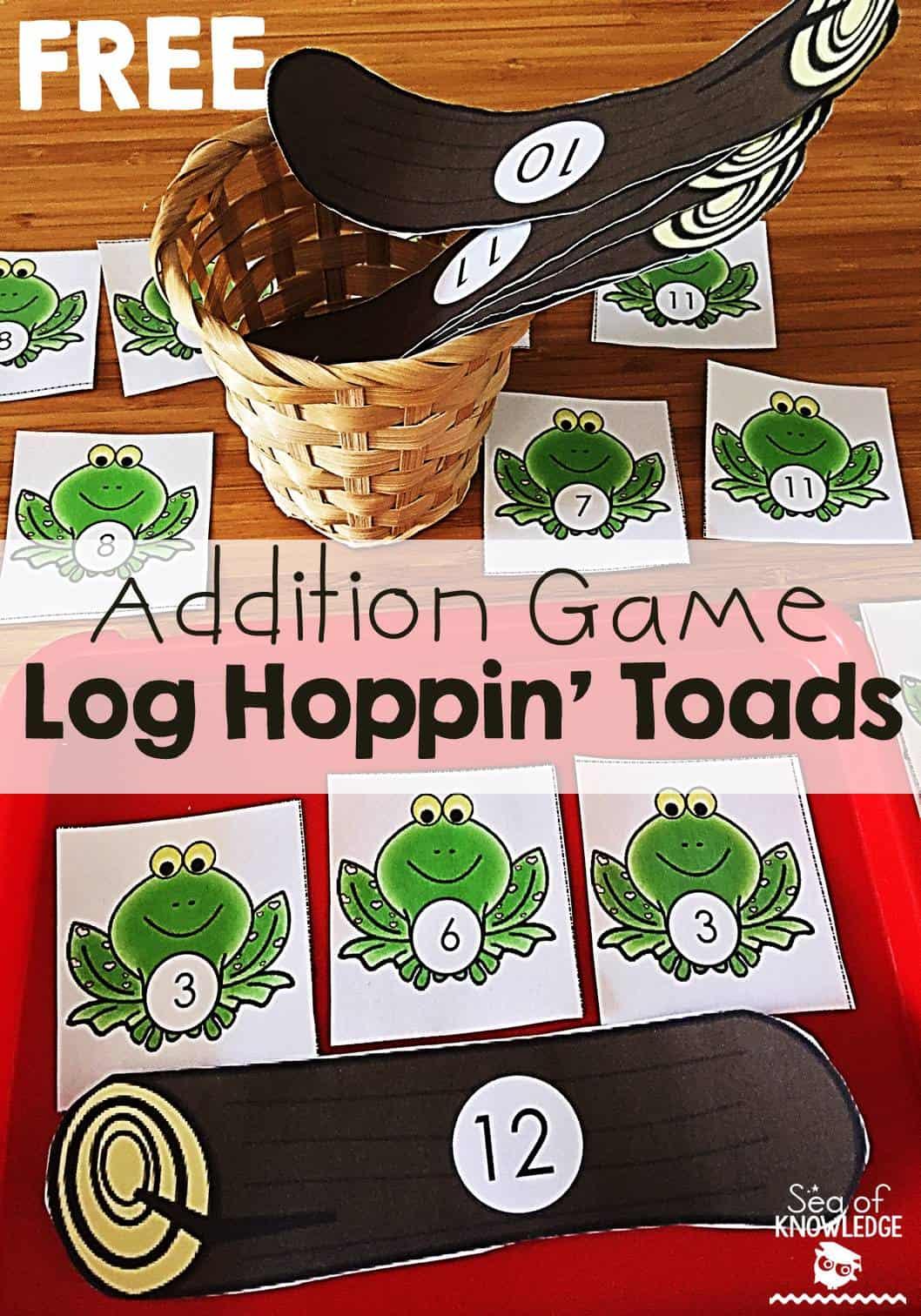 Addition Game Math Activity Kindergarten Log Hoppin Toads