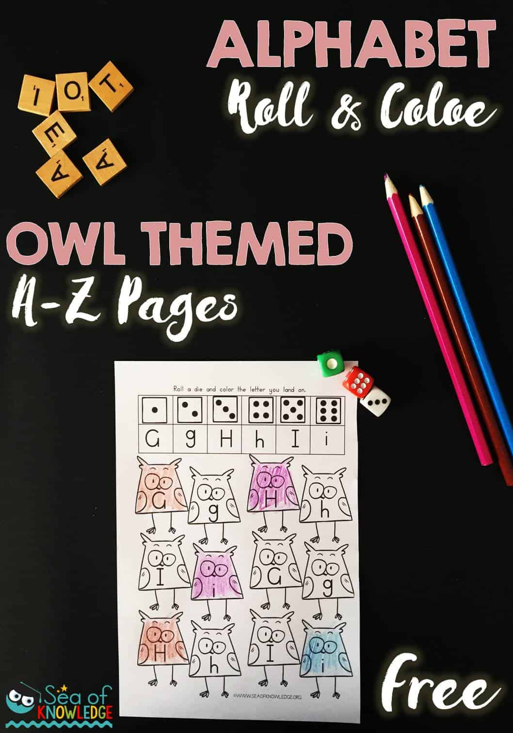 Alphabet Roll And Color Owl Themed