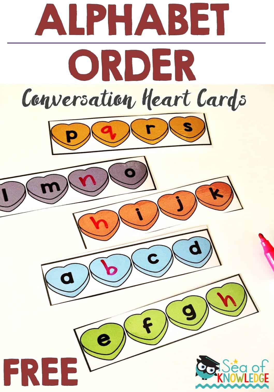 Alphabet Order Conversation Hearts Free