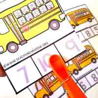Counting to Ten School Bus Clipping Cards Free