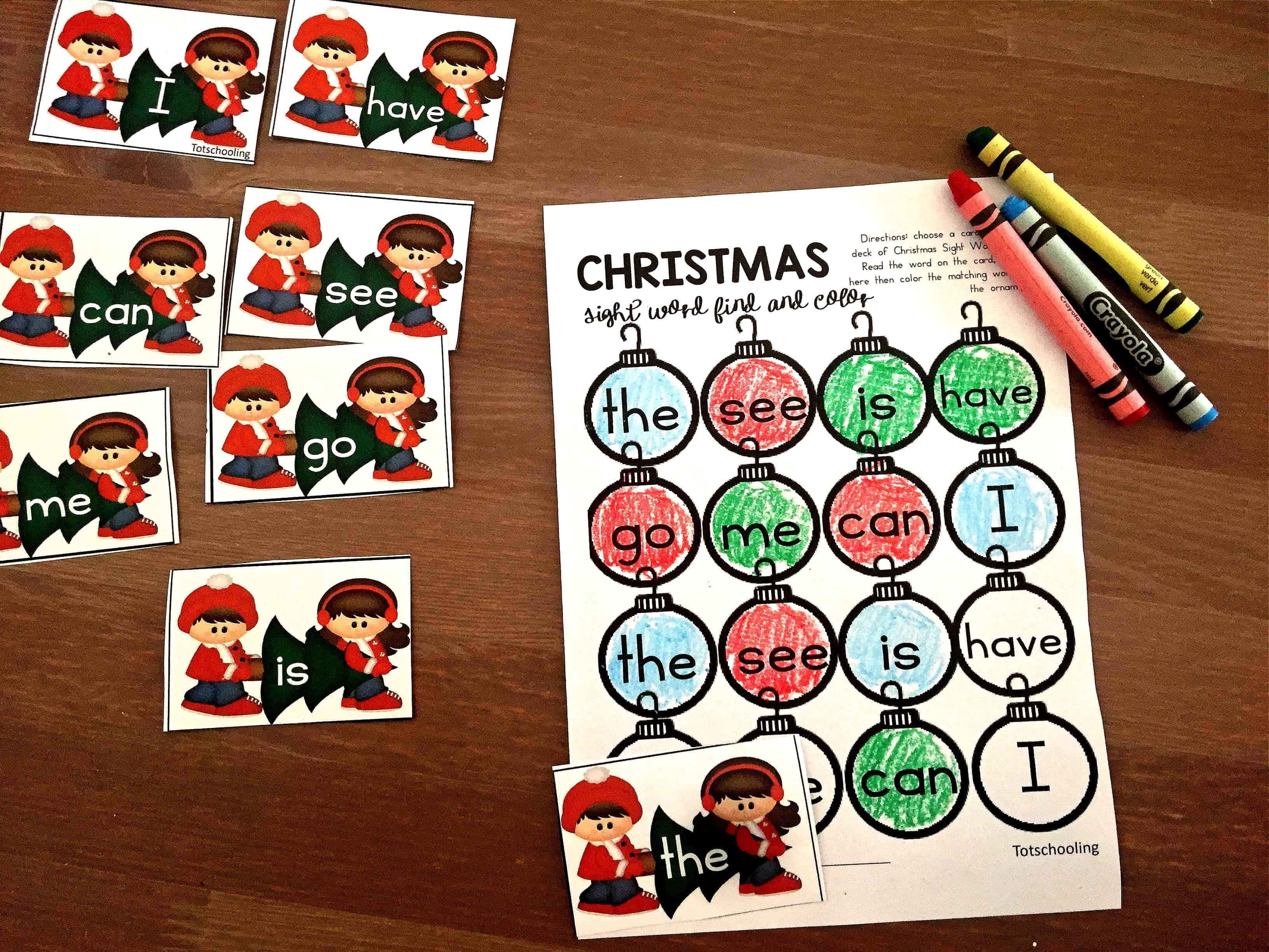 Free Printable Christmas Sight Word Games