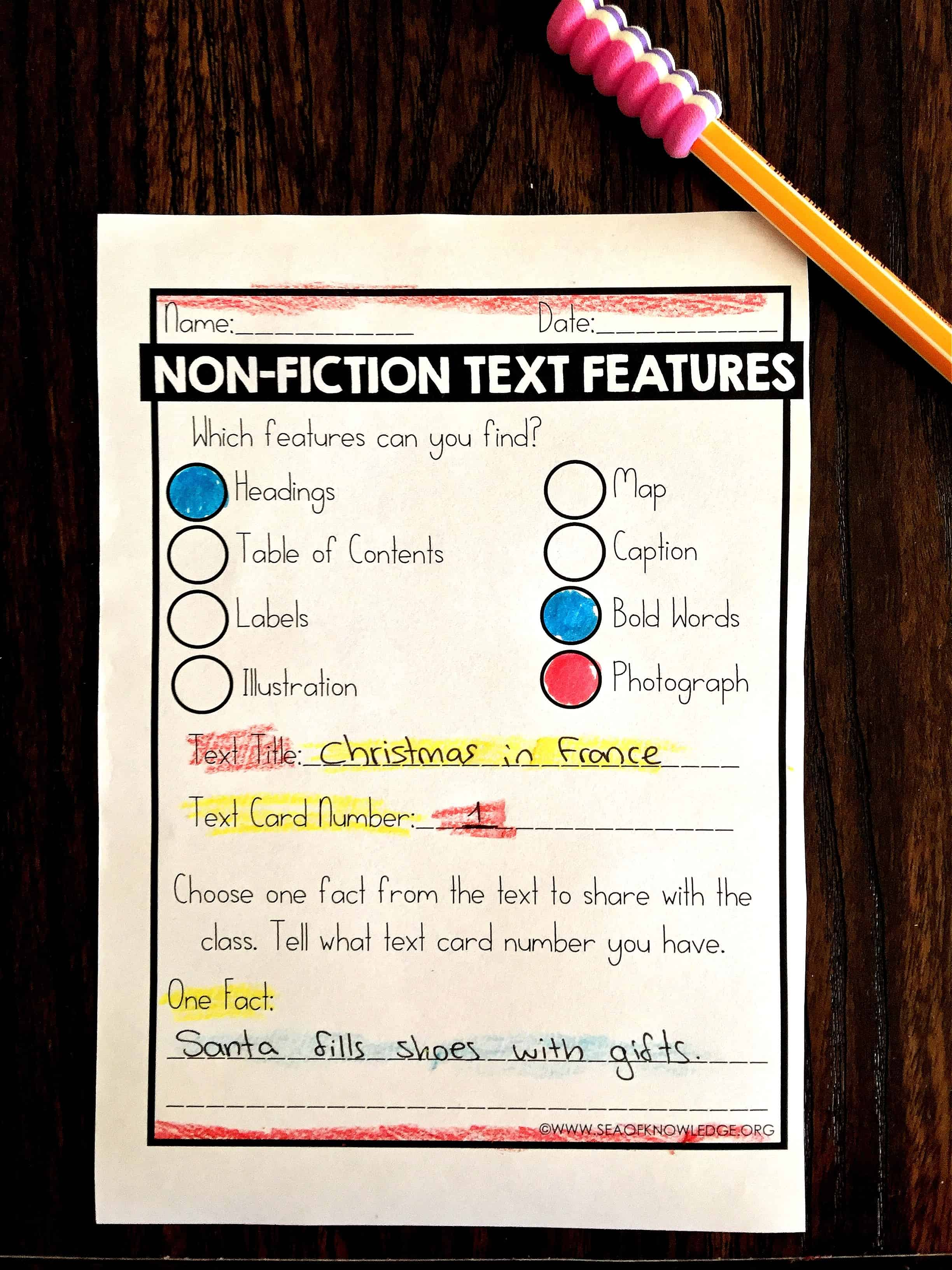 Text Features Headings Worksheet