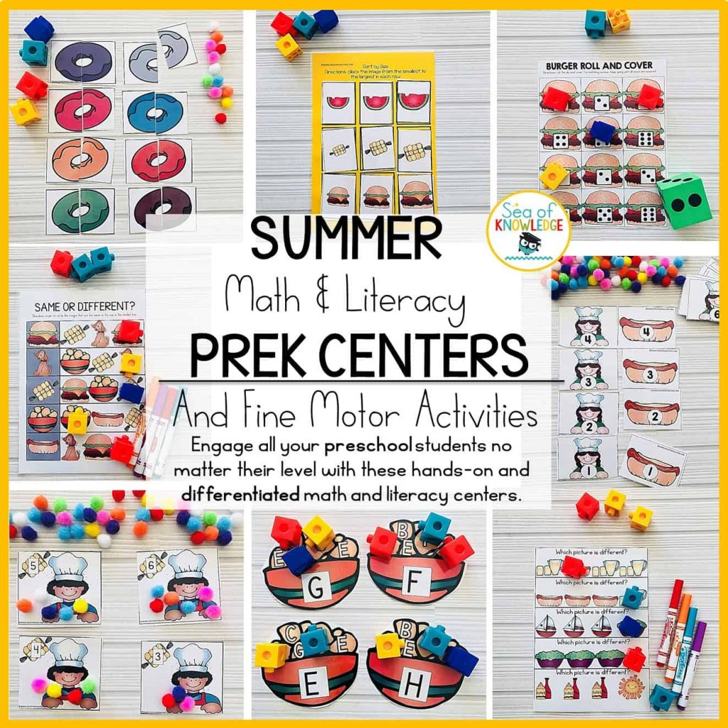 Summer Preschool Math And Literacy Centers And Fine Motor