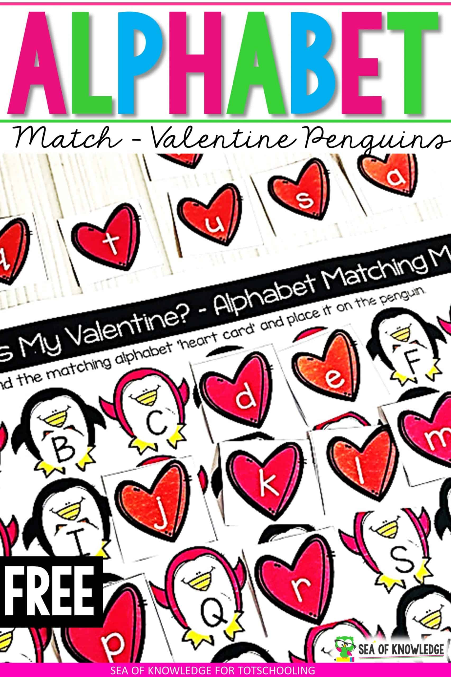 Teach Alphabet Recognition Easily with these Valentine Penguin Alphabet Matching Cards!