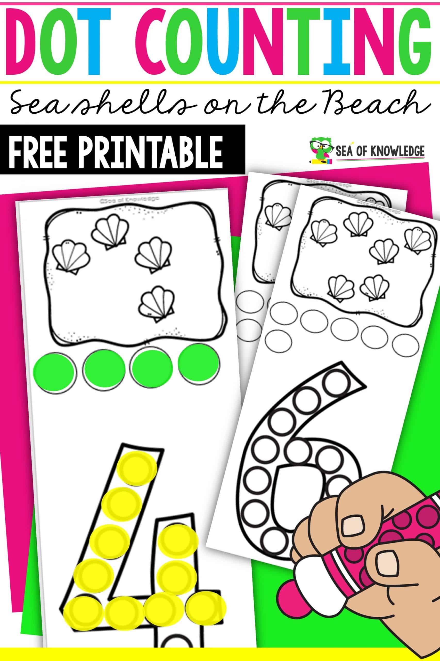 Seashell Do a Dot Printable Task Cards