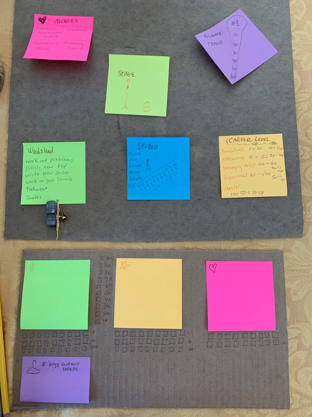 hand drawn game design components, early game concept, Rockstar Board game,