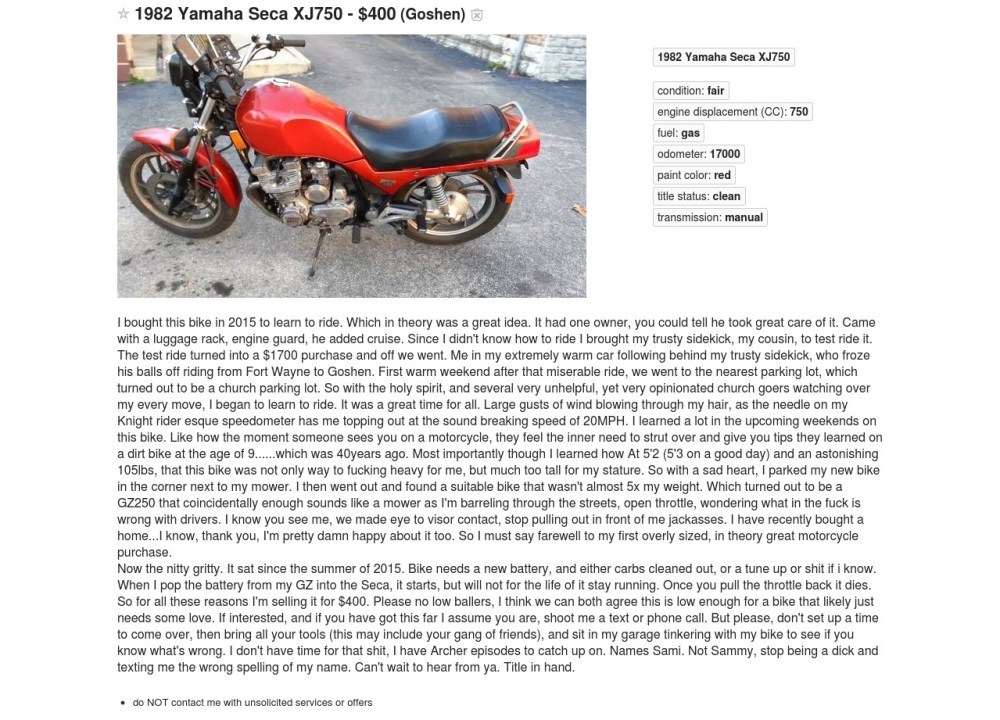 No Such Thing as Too Much Info in Your Motorcycle Ad