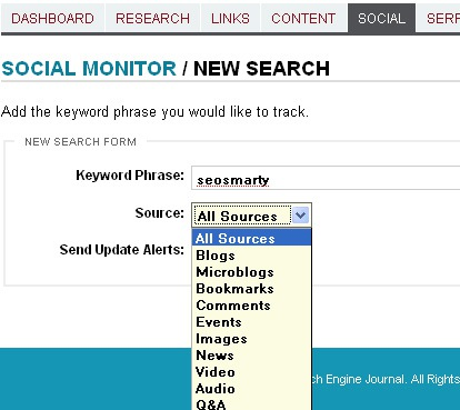 Social media monitor: add search