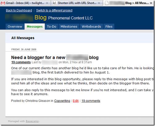 basecamp copywriting project management
