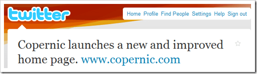 copernic changes home page