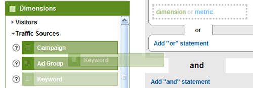 advanced segments keywords