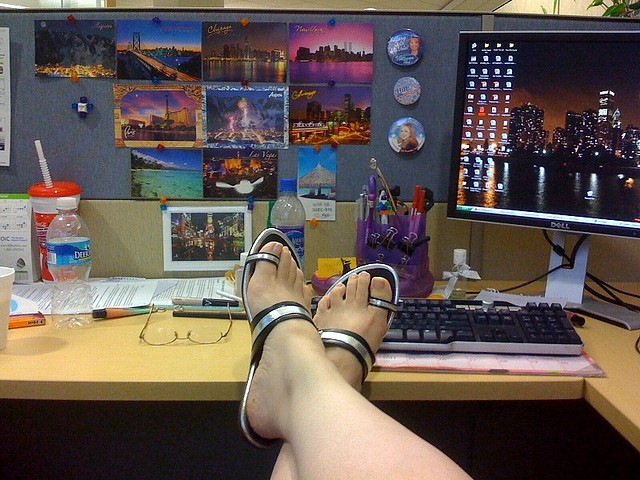 feet desk kickback relax