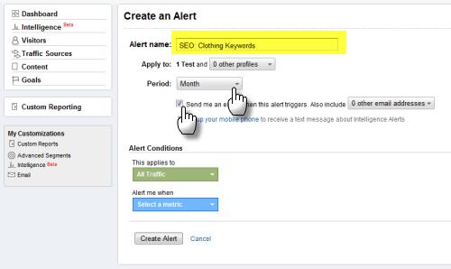 Screengrab: setting up a Google Analytics custom alert
