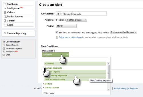 Screengrab: apply a custom alert to a custom segment in GA