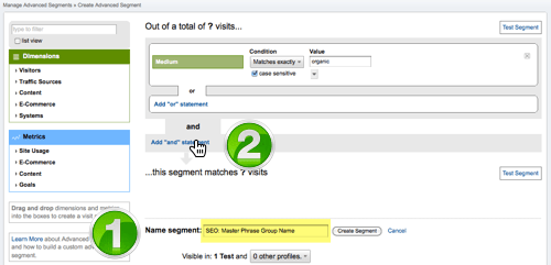 Screenshot: Google Analytics Customize Advance Segment