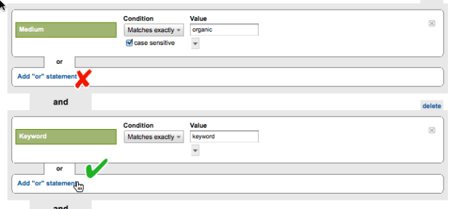 Screenshot: add an or statement in GA Advanced Segments