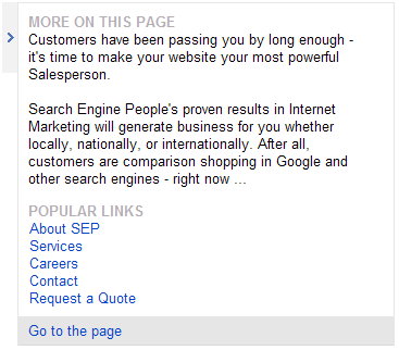 Bing search preview SEO Toronto example