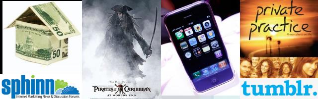 2007: subprime economic crisis, Sphinn, Pirates of the Carribean, iPhone, Private Practice, tumblr