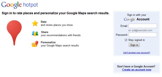 Google hotpot landing page